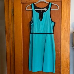 Black and teal fitted tank dress with pockets